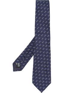 Giorgio Armani Gravata Com Estampa Geométrica - Azul