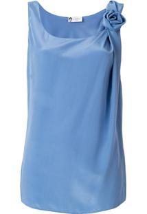Lanvin Blusa De Seda Com Aplicação Floral - Azul