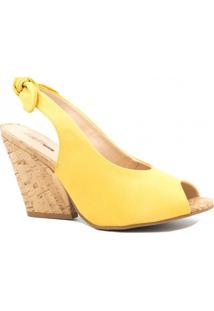 Sandália Zariff Shoes Anabela Laço Amarelo