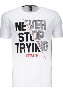 Camiseta Fatal Try Estampada Masculina - Masculino-Branco