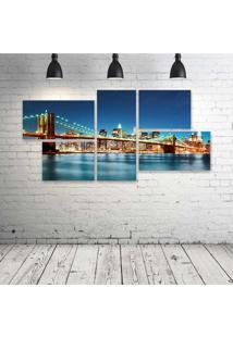 Quadro Decorativo - Usa-River-Bridge-Skyscraper-New-York - Composto De 5 Quadros
