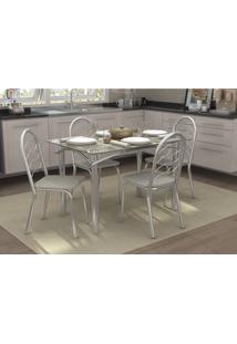 Conjunto Mesa Elba Com 4 Cadeiras Holanda Linho Marrom E Cromado Kappesberg Crome