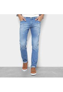 Calça Jeans Preston Destroyed Puídos Masculina - Masculino-Azul