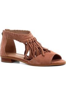Rasteira Couro Shoestock Franjas - Feminino-Bege