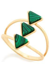 Anel Com Aro Vazado Com Pedras Triângulares Rommanel - Feminino-Verde