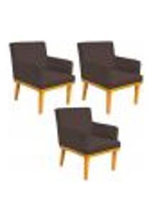 Kit 03 Poltronas Decorativa Para Sala De Estar Base Mel Beatriz W01 Suede Marrom - Lyam Decor
