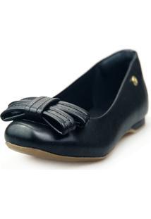Sapatilha Love Shoes Bico Quadrado Confort Laço Pesponto Preto - Kanui