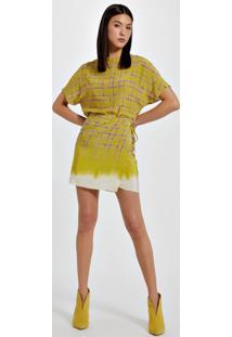Vestido De Seda Com Saia Envelope Estampa Barrada Est Barrado Braidatto Dip Dye Amarelo - 38
