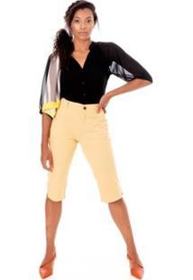 Bermuda Sisal Jeans Pedal Color Feminina - Feminino-Amarelo