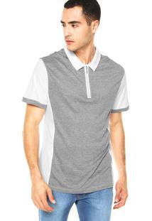 Camisa Polo Calvin Klein Zíper Cinza E Branco