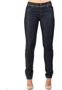 Calça Jeans Reta Azul Escuro Detalhes Couro Alphorria 42