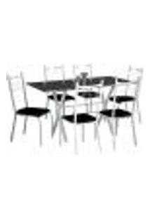 Conjunto De Mesa Miami Com 6 Cadeiras Lisboa Branco Liso E Preto