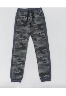 Calça Infantil Em Moletom Estampada Camuflada Com Recorte Cinza Mescla Escuro