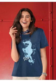 Blusa Estampada Com Fenda Azul Marinho