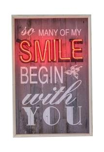 Quadro Decorativo Com Neon Smile - Unissex