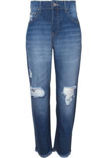 Calça Le Lis Blanc Girlfriend Cropped Puídos Jeans Azul Feminina (Jeans Médio, 34)