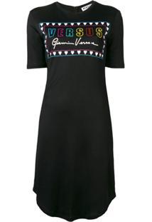 Versus Vestido Com Estampa De Logo - Preto