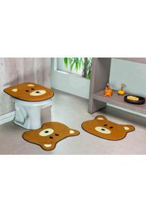 Tapete Jogo Banheiro Formato Urso Guga Tapetes- Caramelo