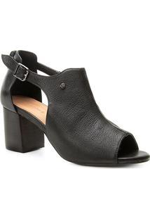 Sandália Couro Shoestock Salto Médio Feminina - Feminino-Preto