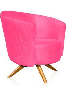 Poltrona Decorativa Angel Tressê Suede Rosa Barbie Com Base Giratória Madeira - D'Rossi