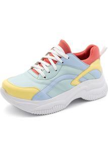 Tênis Sneakers Chuncky Ellas Online Colors Azul