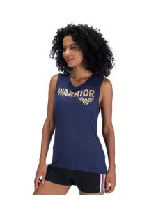 Camiseta Regata Liga Da Justiça Mulher-Maravilha - Feminina - Azul Escuro
