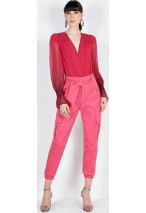 Calça Cargo Com Cinto Rosa Rosa
