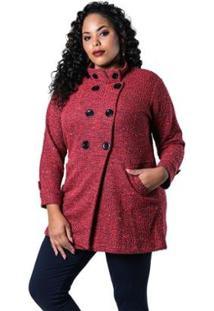 Casaco Beline Plus Size Lã Batida Lenner - Feminino-Vermelho