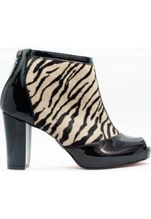 Ankle Boot Salto Bloco 10Cm Pelo Zebra Cbk Feminina - Feminino-Preto