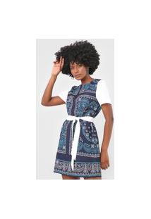 Vestido Lança Perfume Curto Arabesco Azul/Off-White