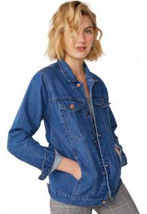 Amaro Feminino Jaqueta Jeans Clássica, Azul Medio