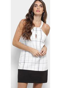 4cccb7308 ... Vestido Lez A Lez Curto Reto Estampado - Feminino-Branco+Preto