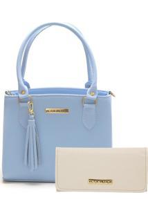 Bolsa Colorida Com Carteira Azul Victor Valencia - Azul - Feminino - Dafiti