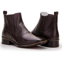2957988bde276 Bota Texana Country Capelli Boots Em Couro Cano Curto Masculina - Masculino -Café