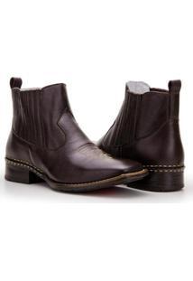 Bota Texana Country Capelli Boots Em Couro Cano Curto Masculina - Masculino-Café