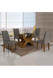 Conjunto De Mesa Com 4 Cadeiras Olímpia Ii Linho Canela E Cinza