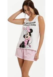 Pijama Estampa Minnie Sem Manga Disney Feminino - Feminino-Bege+Rosa