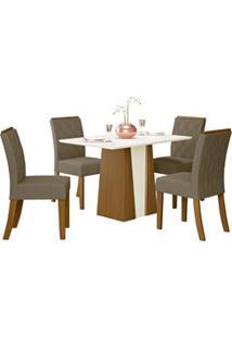 Sala De Jantar Mesa Órus 120Cm Com 4 Cadeiras Vita Nature/Off White/Be
