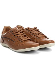Sapatênis Couro Shoestock Recortes Masculino - Masculino-Caramelo