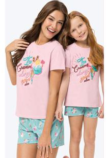 Pijama Rosa Claro Estampado Em Malha Feminino Tal