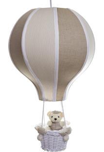 Lustre Balão Grande Com Ursinho Quarto Bebê Infantil Menina Menino Potinho De Mel Bege