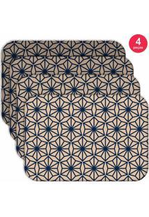 Jogo Americano Love Decor Wevans Geometric Blue Kit Com 4 Pçs