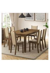 Conjunto Sala De Jantar Madesa Miriam Mesa Tampo De Madeira Com 6 Cadeiras Rustic/Crema/Bege Marrom
