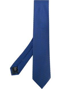Ermenegildo Zegna Gravata Estampada De Seda - Azul