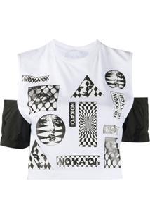 No Ka' Oi Blusa Cropped Com Estampa Gráfica - Branco