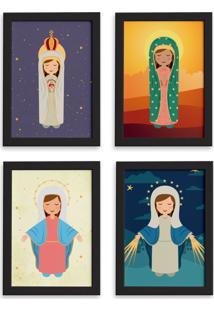 Quadros Nossa Senhora Virgem Maria Mold Preta 22X32 Kit 4Un