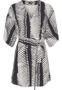 Vestido Kimono Pirarucu Spine - Preto E Off White