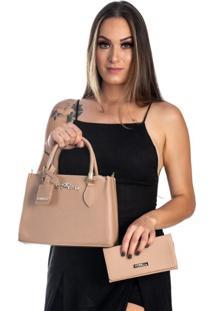Kit Bolsa + Carteira Feminina Fashion Blogueira Bege