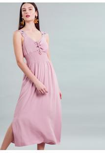 Vestido Tecido Rayon Stars Midi Rosa Persefone - Lez A Lez