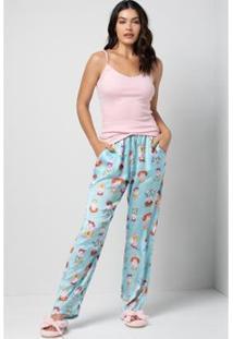 Conjunto Pijama Acuo 3 Peças Canelado Ferminino - Feminino-Rosa
